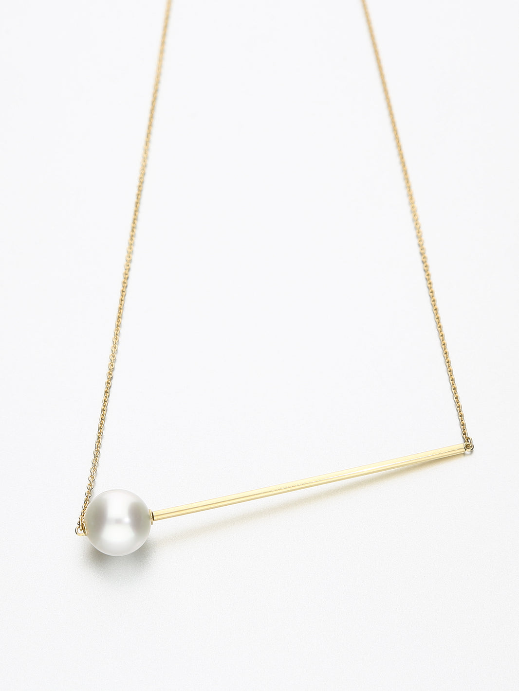 Abacus Pearl Necklace, Yellow gold with white Southsea pearl 11mm