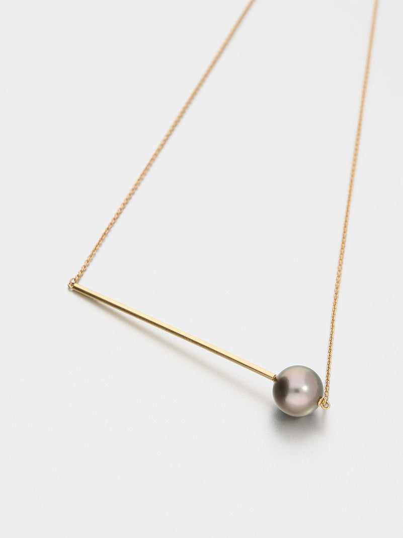 Abacus Pearl Necklace, Rose gold with dark Tahitian pearl 11mm