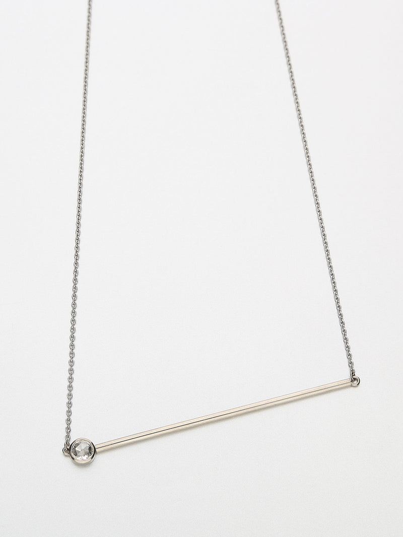 Abacus Diamond Necklace, White gold with a white rose cut diamond