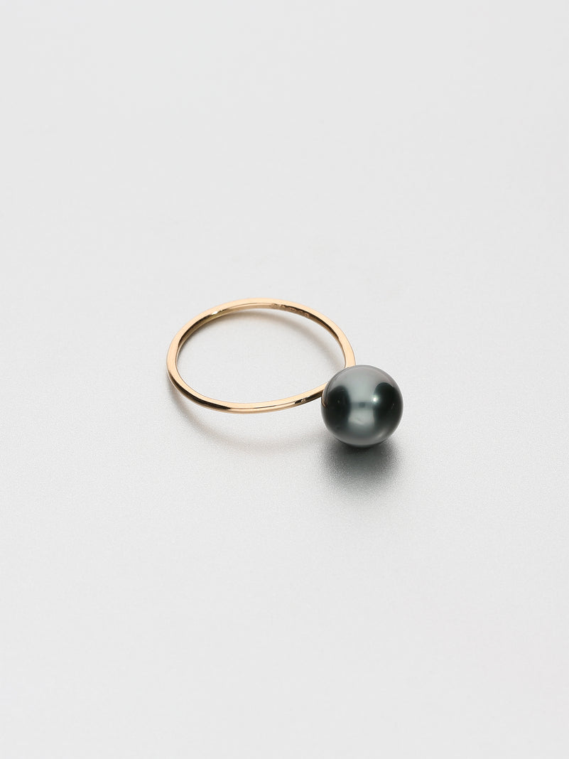 Fine Pearl Ring, Rose gold with dark Tahitian pearl 9mm