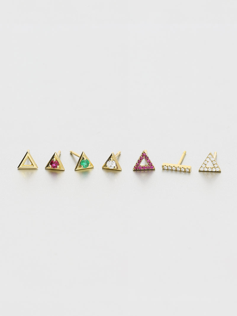 Vertex Stud Earrings, Yellow gold