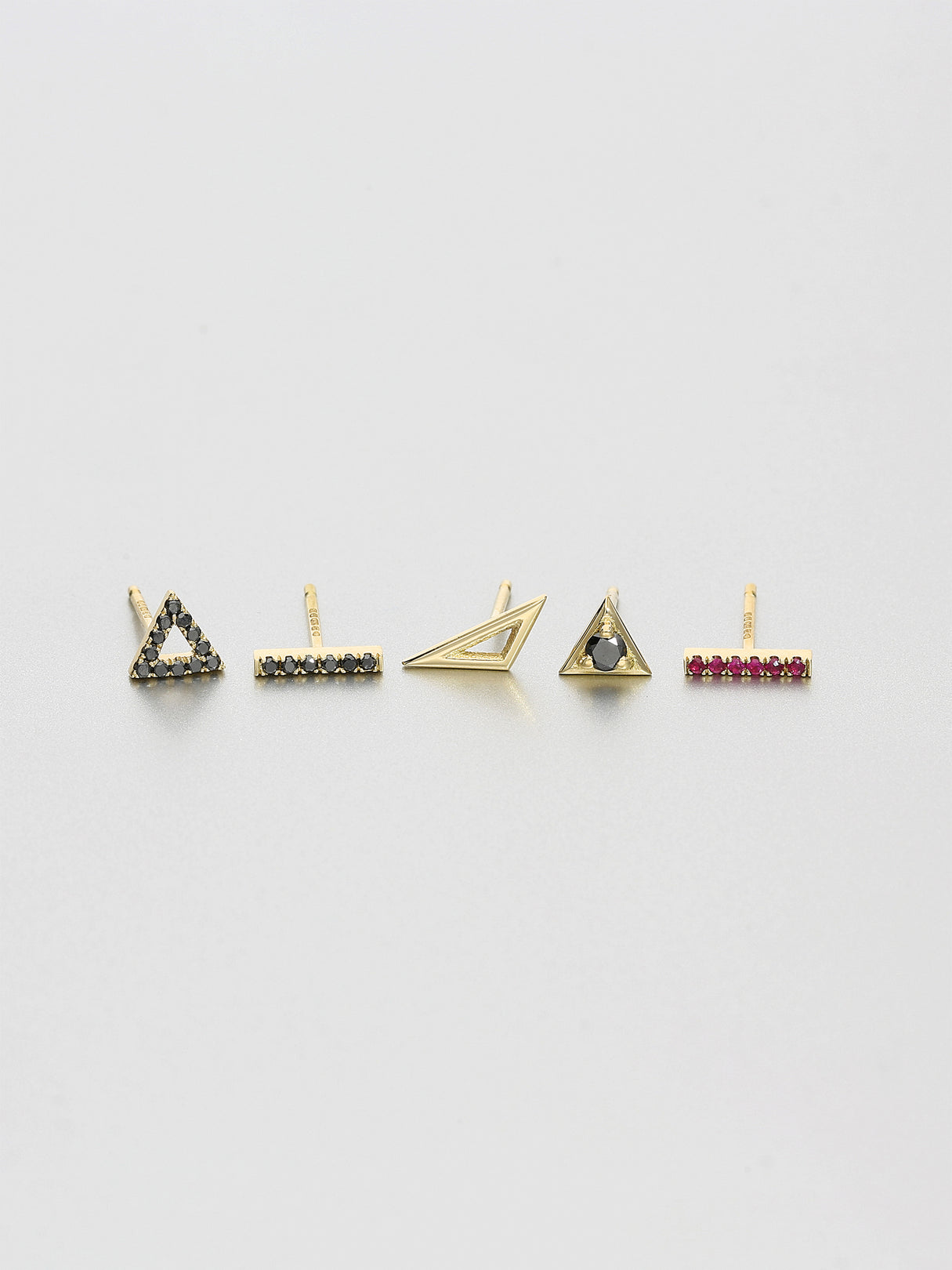 Vertex Stud Earrings, Yellow gold 2