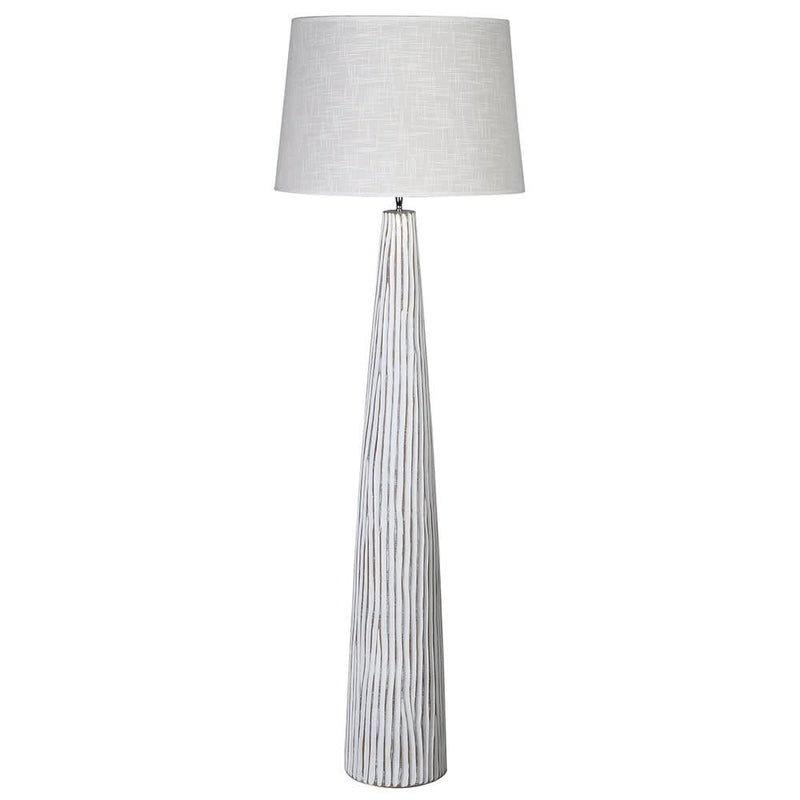 Washed striped floor lamp with linen shade