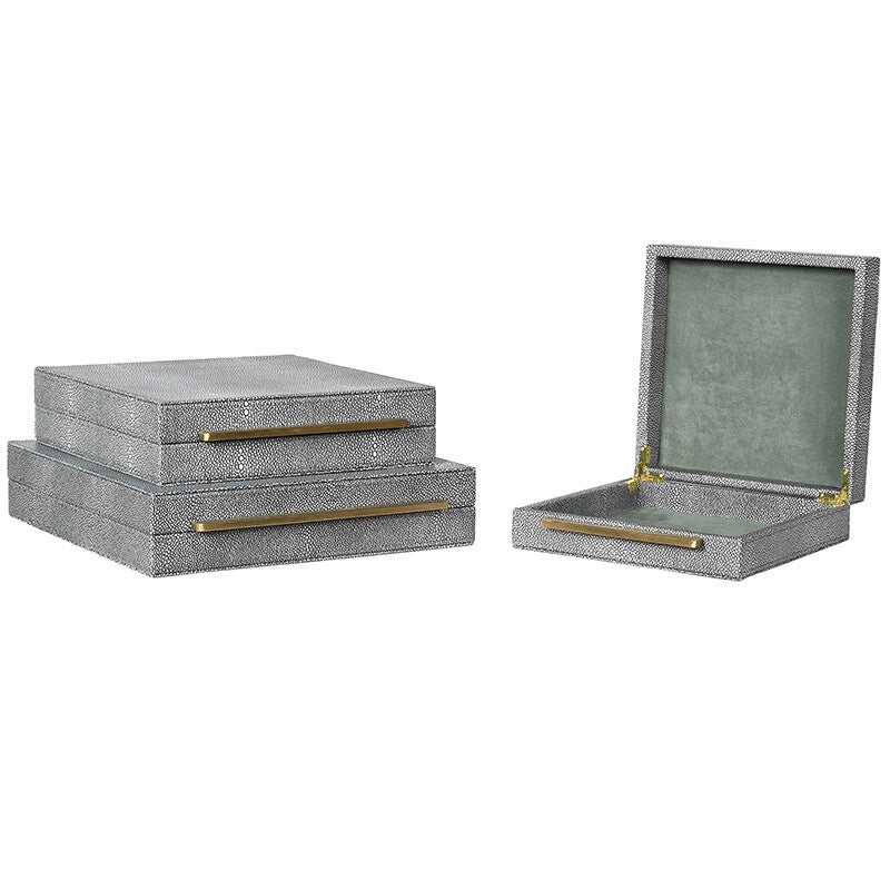 Set of 3 decorative faux shagreen boxes