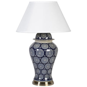 Dark navy patterned lamp with shade