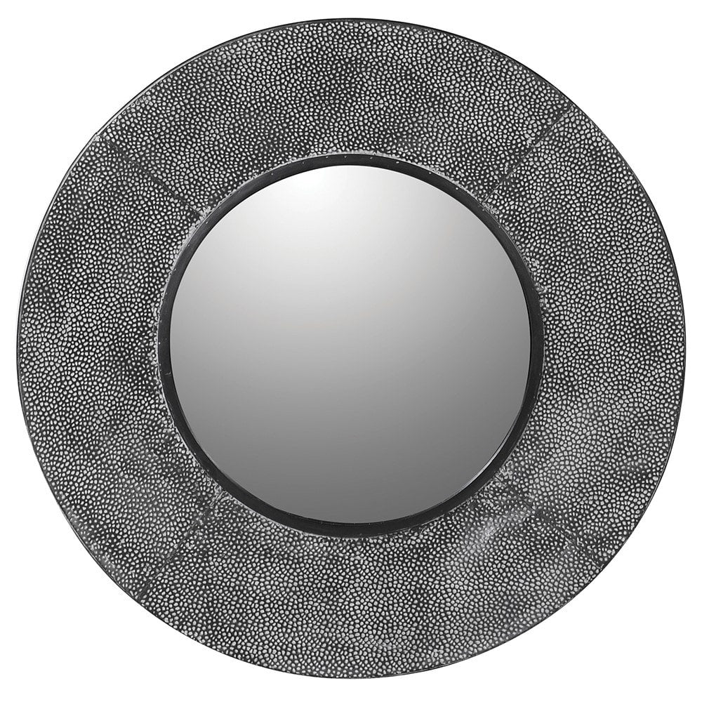 Textured grey round metal