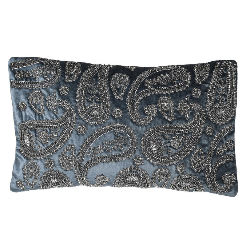 Blue paisley beaded cushion