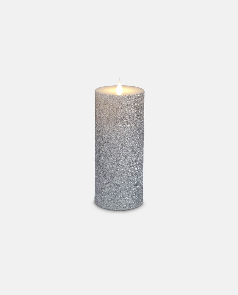 Medium silver glitter led candle