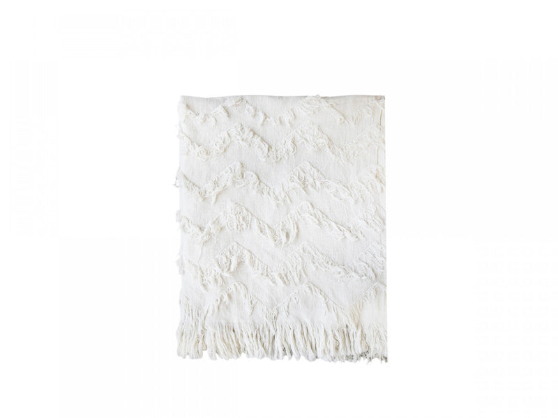 Off White Fringe Throw