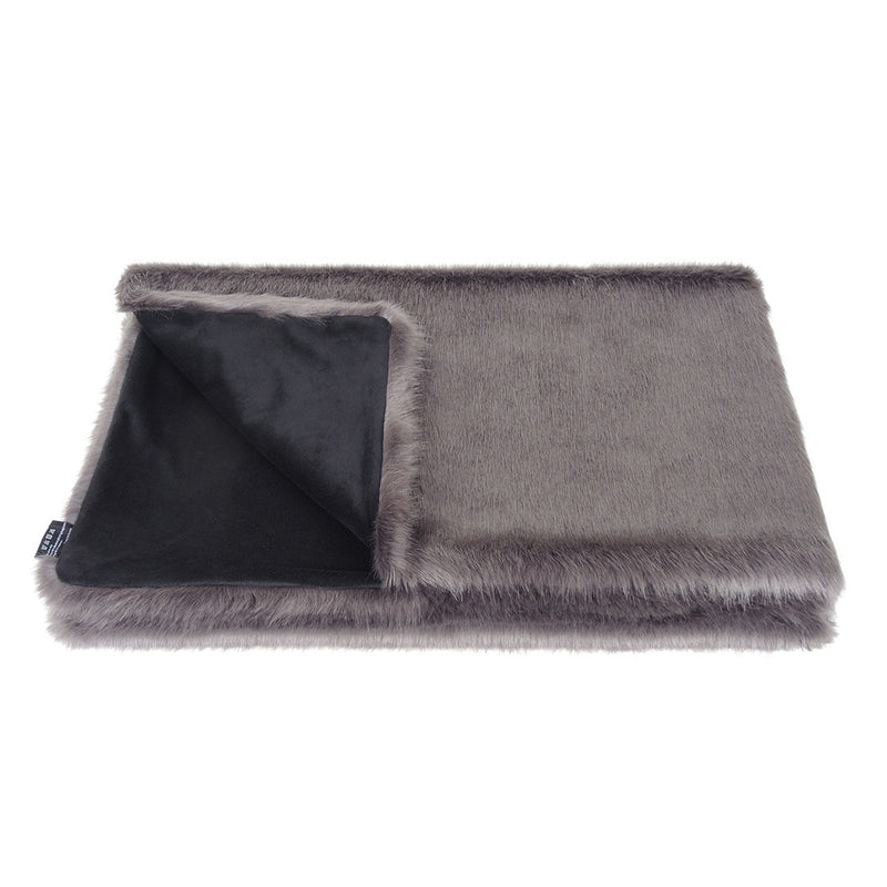 Steel faux fur comforter