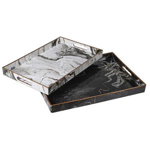 Set of 2 black and white marble effect trays