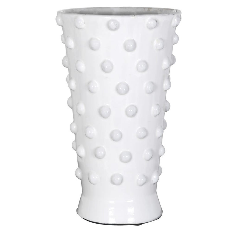 White terracotta glazed bobble vase