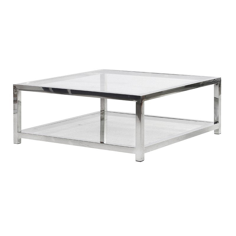 Glass and chrome square coffee table
