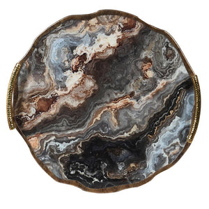 Bronze and marble swirl tray