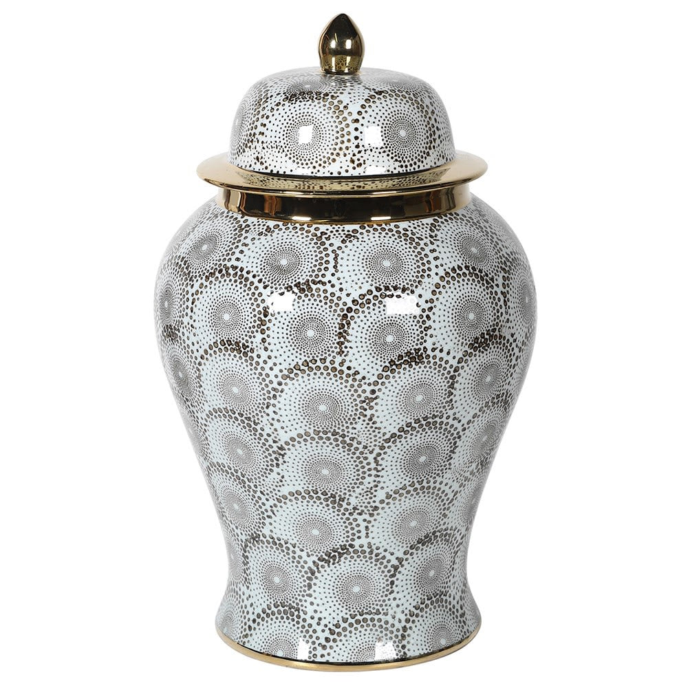 Grey and gold patterned ginger jar