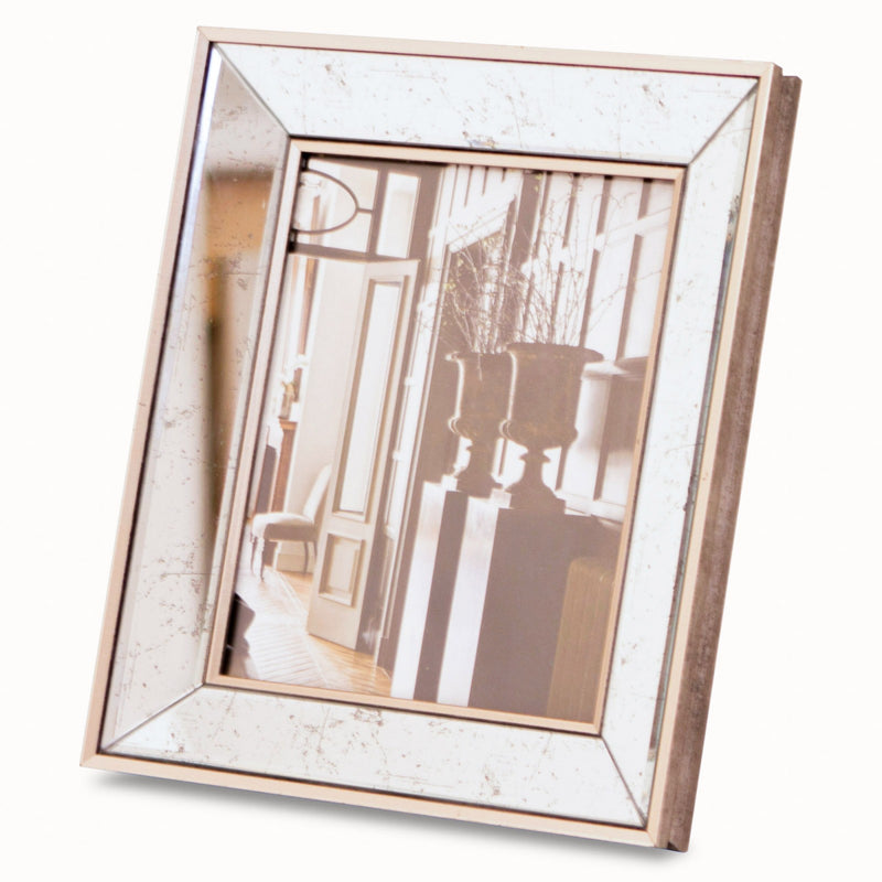 Large antiqued mirror photo frame
