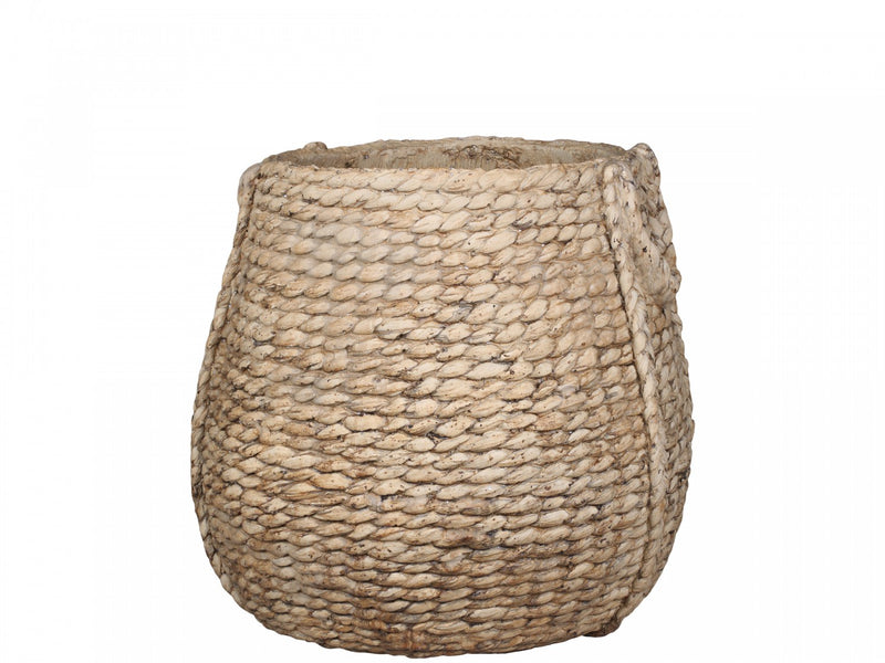 Large braided cement flower pot