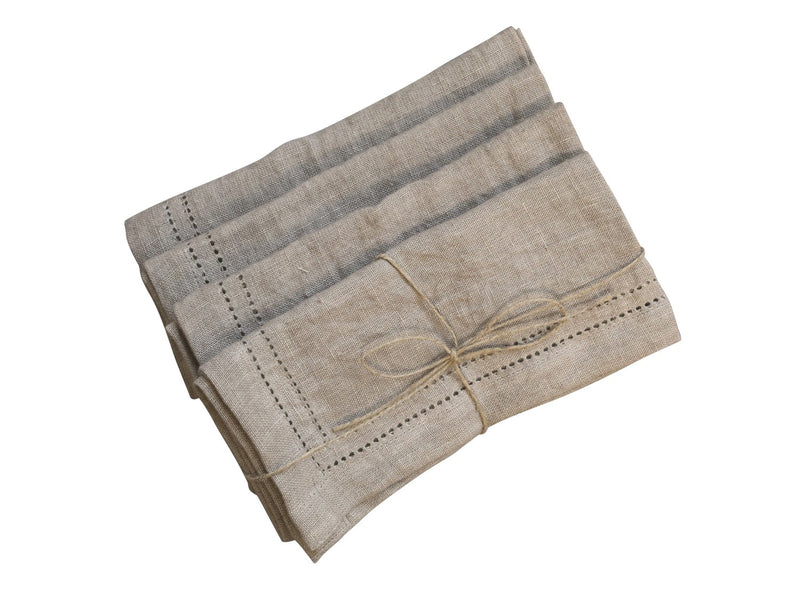 Set Of 4 Linen Napkins With Detail Edging