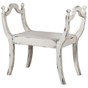 White wooden distressed stool