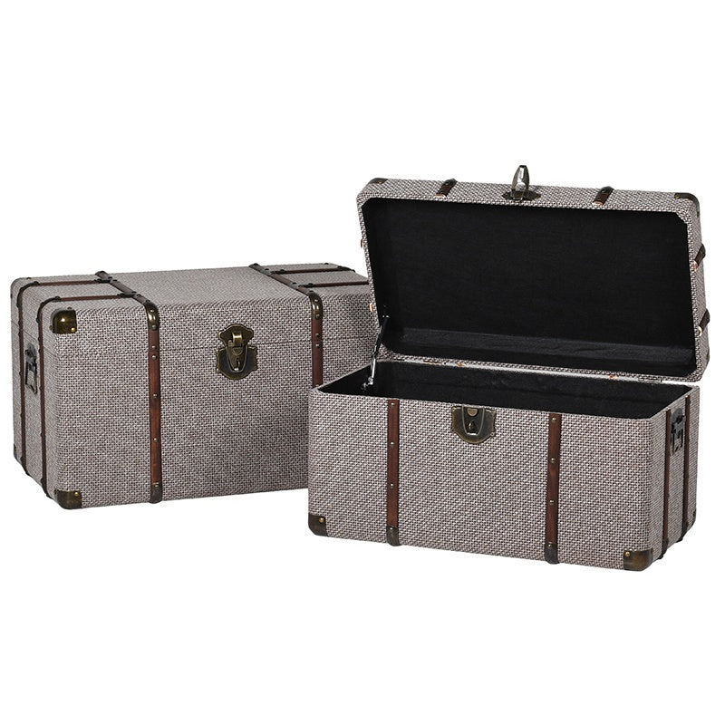 Set of 2 brown tweed trunks