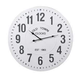 White iron old town wall clock