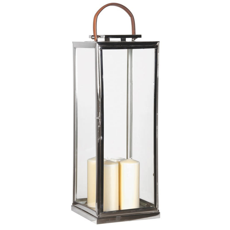 Tall nickel lantern with leather handle