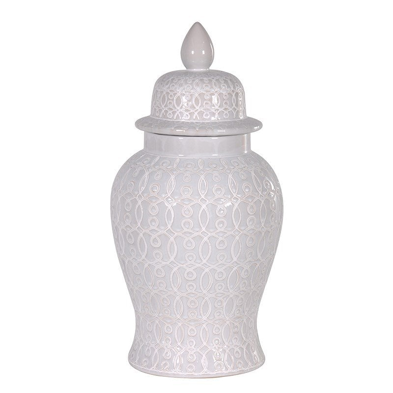 Large White Patterned Ginger Jar