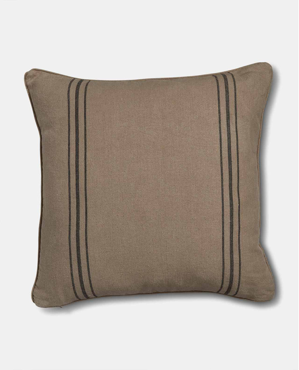 Natural linen cushion with black stripe
