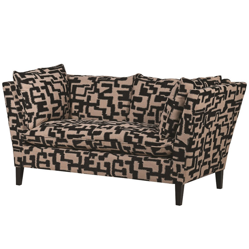 Black And Natural Patterned 2 Seater Sofa