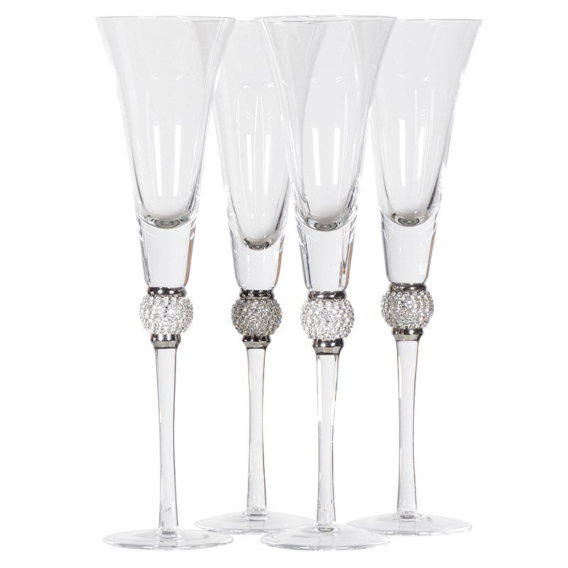 Set Of 4 Silver Crystal Ball Champagne Glasses