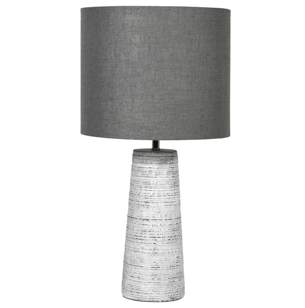 White and grey tapered lamp