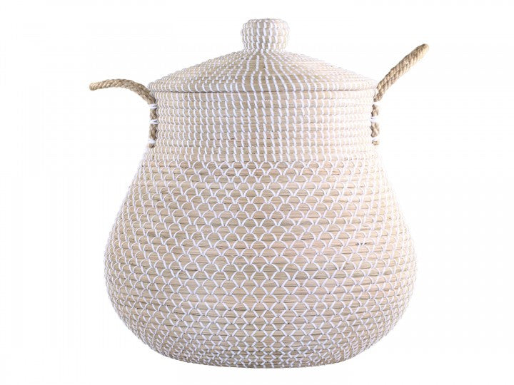 White And Natural Wicker Basket