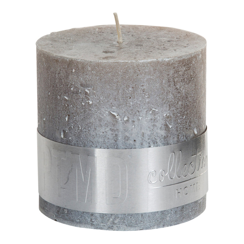 Metallic Taupe Block Candle 10x10cm
