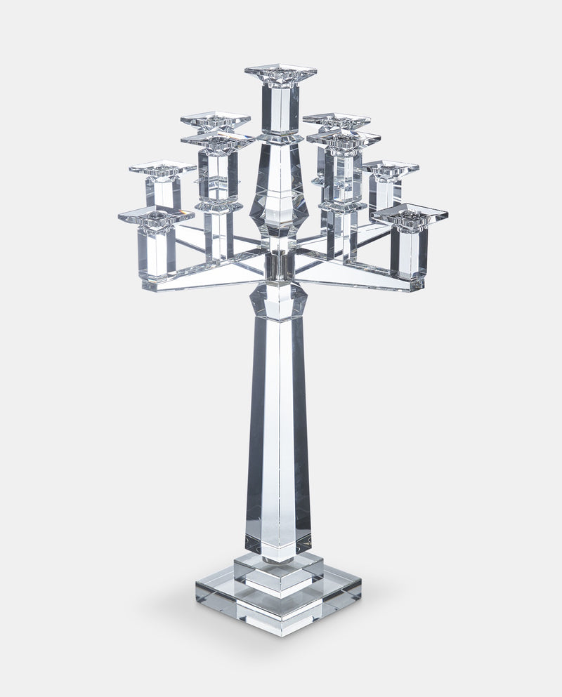 Modern cut glass candelabra
