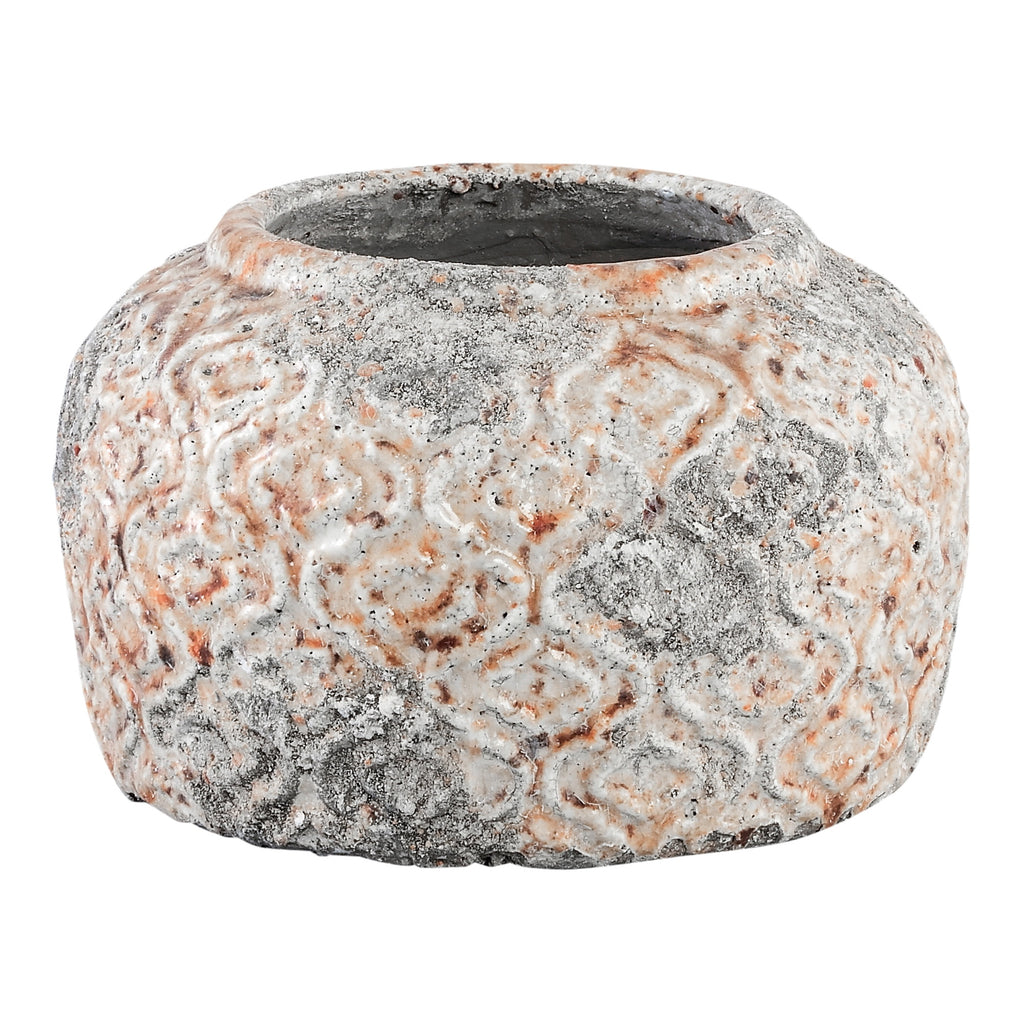 Rustic ceramic round low pot
