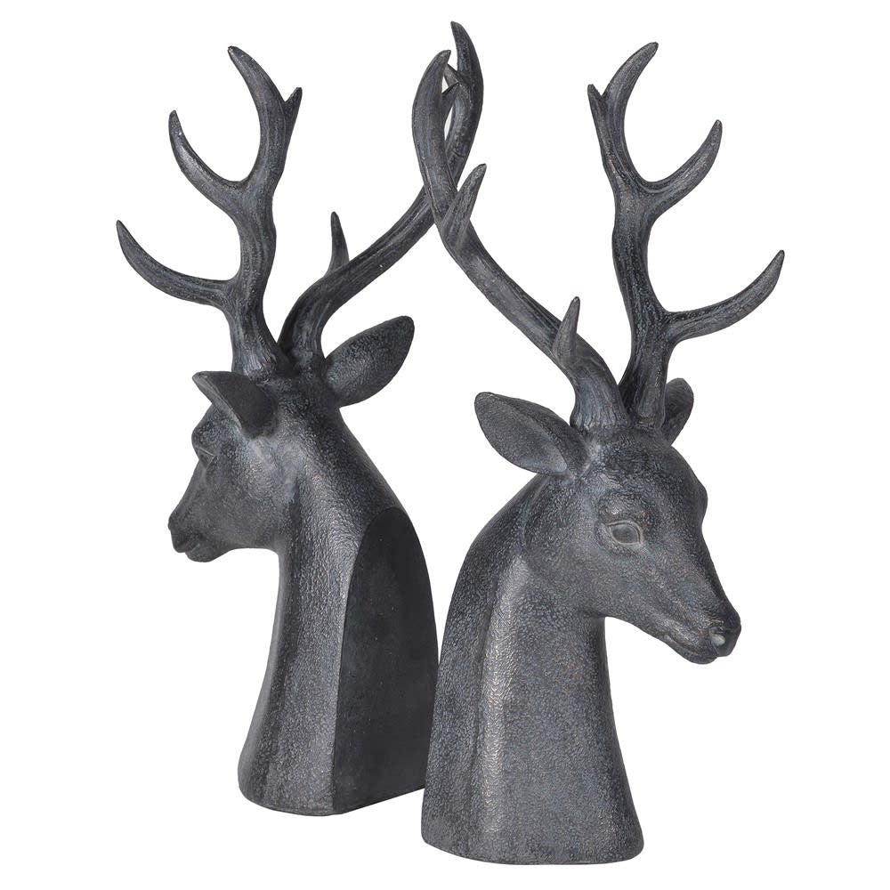 Distressed black deer bookends
