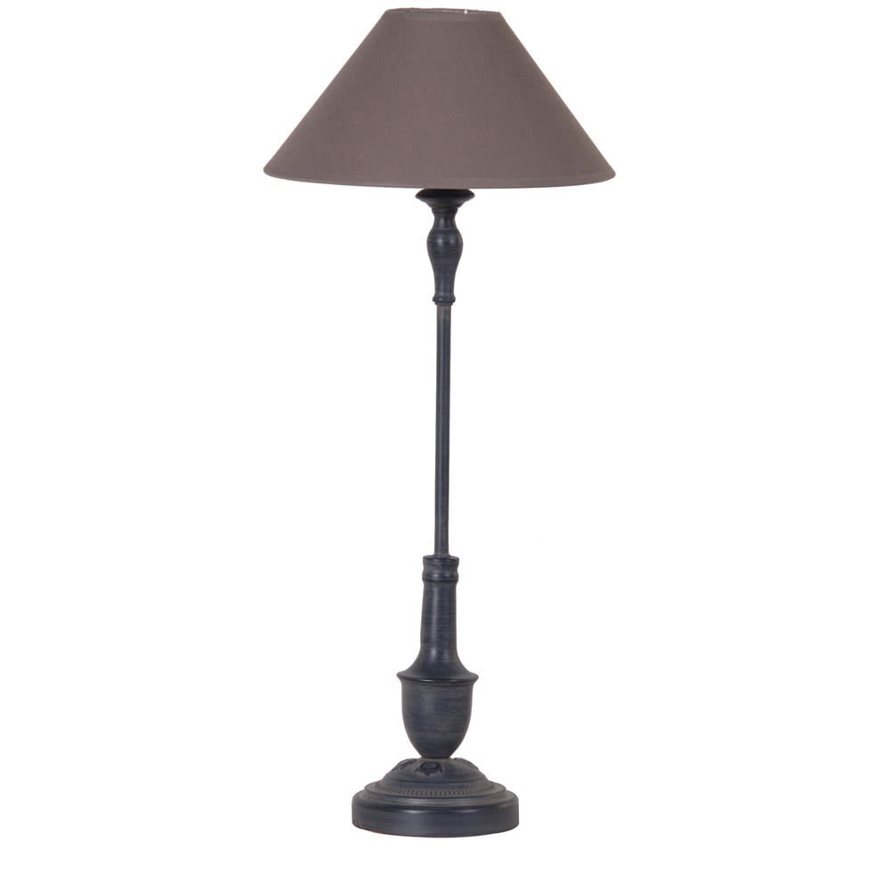 Distressed black thin bedside lamp