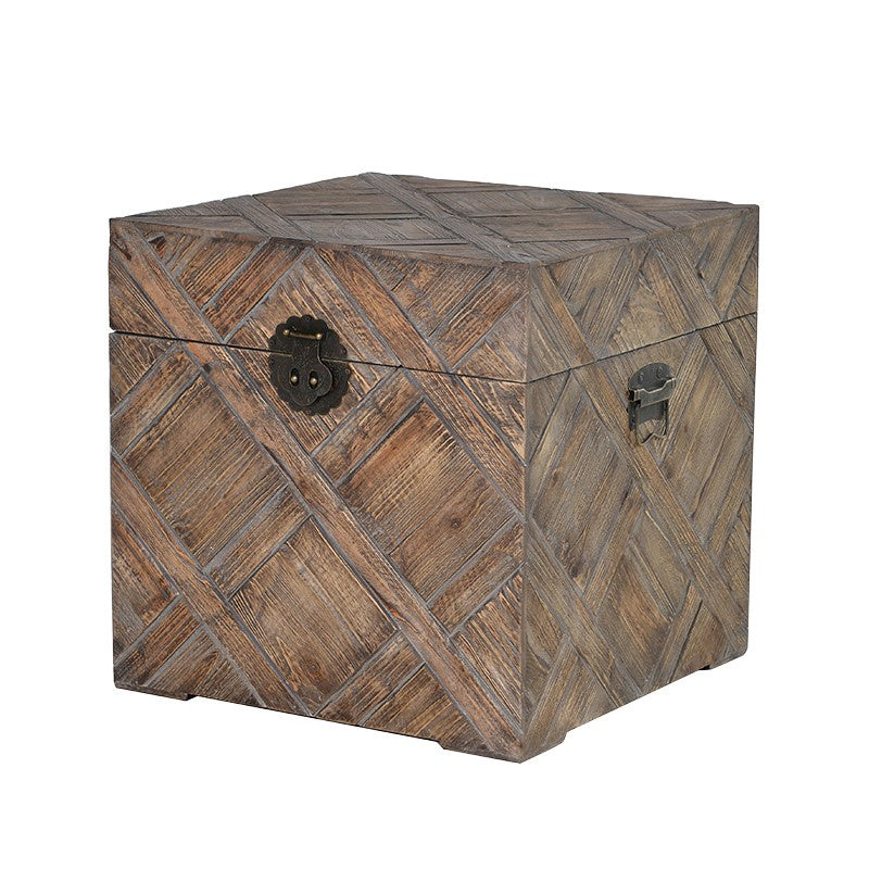 Square wooden storage trunk
