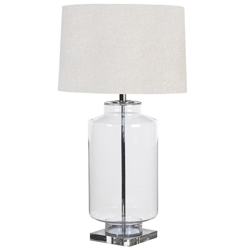 Glass cylinder lamp with shade