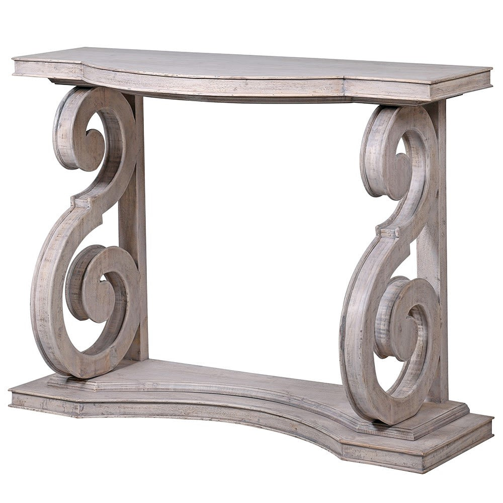 Washed wooden swirl console table