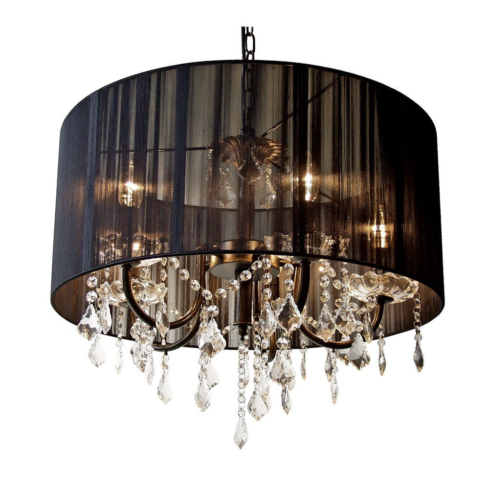 Chanderlier with black pleated round shade