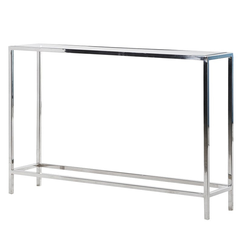 Glass and steel slim console table