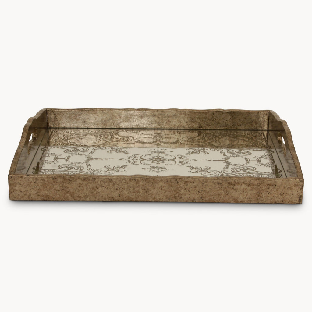 Tray with gold decorative pattern