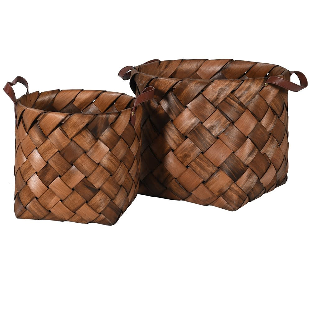 Set of 2 Brown weaved round baskets