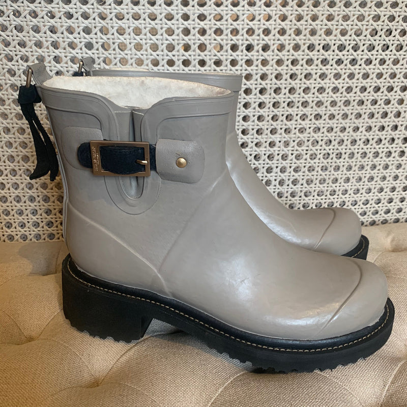 Ilse Jacobsen light grey short heel rubber boot