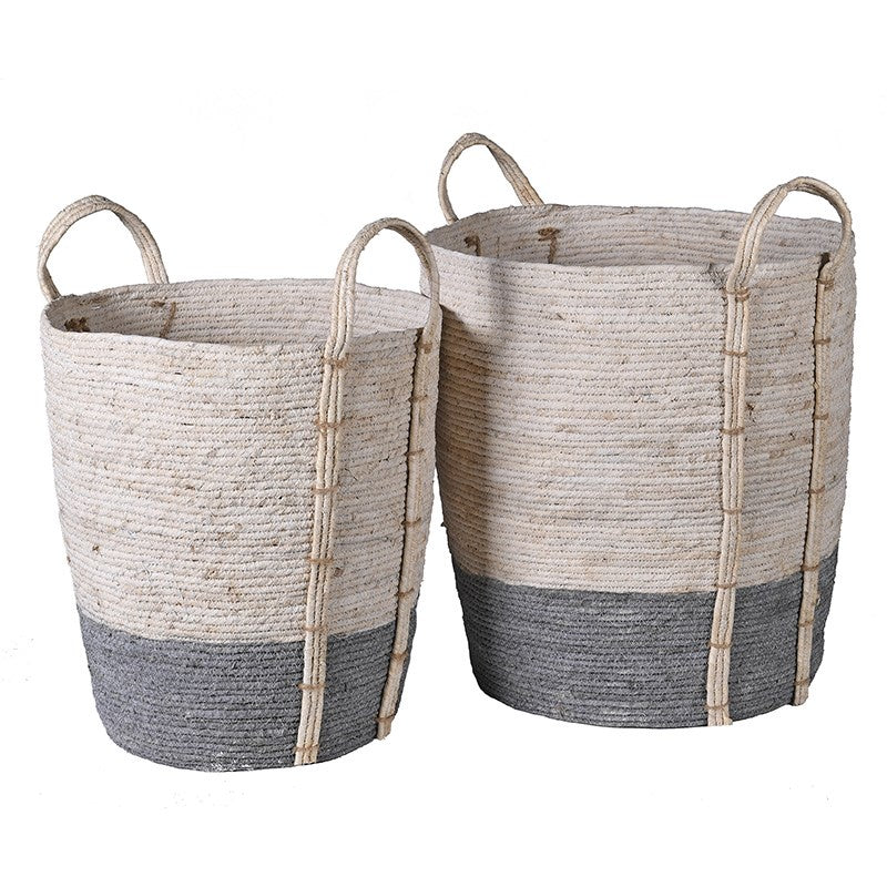S/2 tall grey and white seagrass baskets