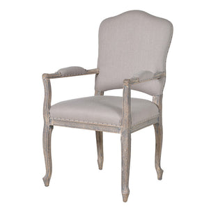 Elegant french grey linen dining chair with arms