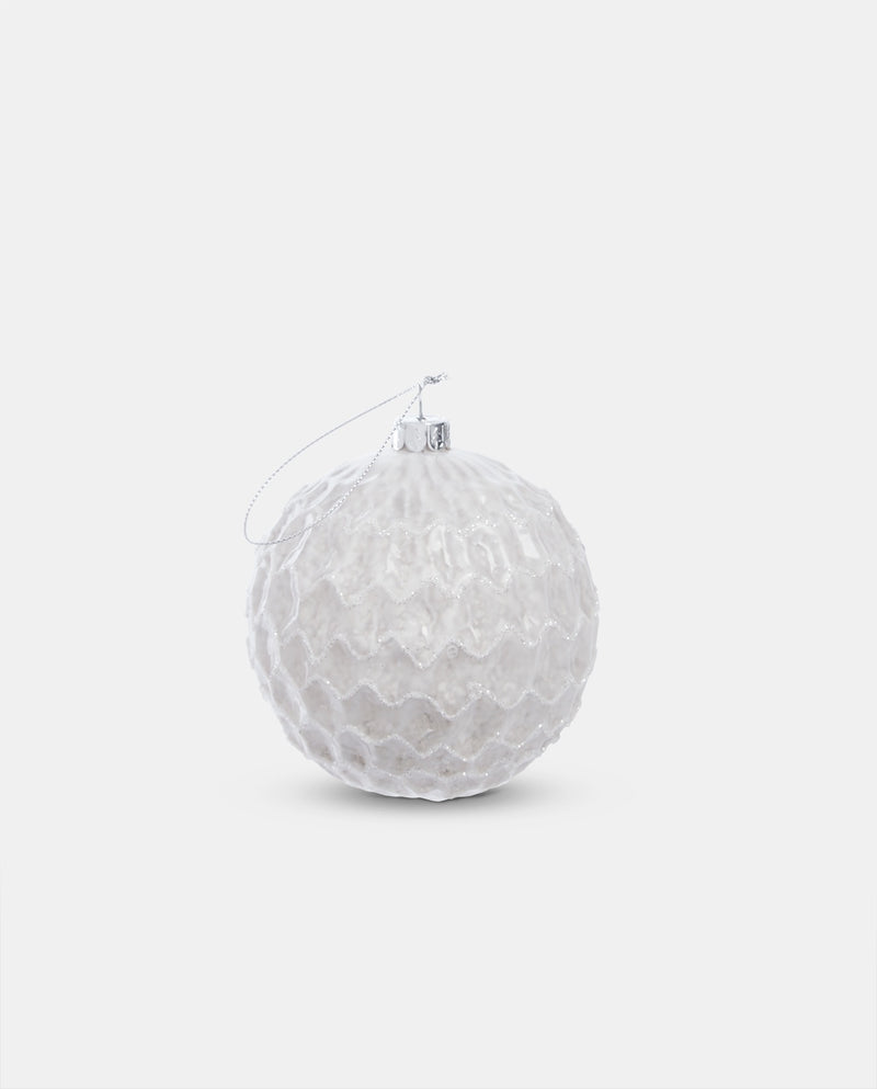 White glass patterned bauble