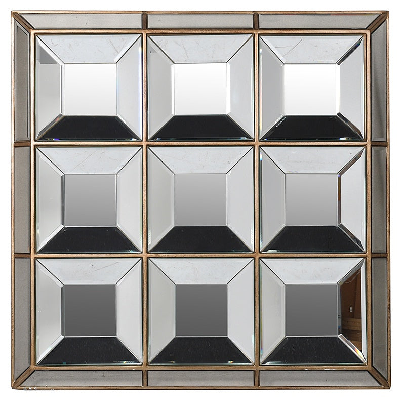 Antiqued multi square mirror