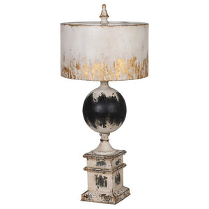 Distressed Black and cream iron table lamp